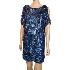 NEW Aidan Mattox Sequin Cold Shoulder Shift Dress